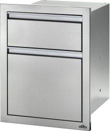 "18"" X 24"" Double Drawer: Waste Bin with Waste Bin , Stainless Steel"