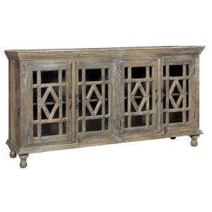 CRESTVIEW COLLECTIONSBengal Manor Mango Wood Grey Wash 4 Door Sideboard