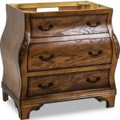 """34"""" vanity with a rich walnut burled finish and hand-carved botanical details"""