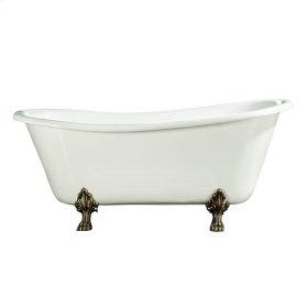 "Kirkland 67"" Cast Iron Slipper Tub - No Faucet Holes - Polished Brass"