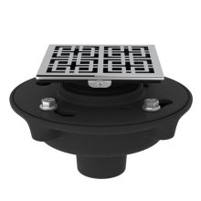 """Polished Chrome Cast Iron 2"""" No Hub Drain Kit With 3142 Weave Decorative Cover"""