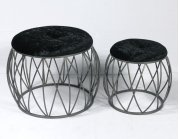Emerald Home Ac351-rd-blk-2pcset Sorrento Stool Set, Silver Product Image