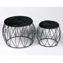 Emerald Home Ac351-rd-blk-2pcset Sorrento Stool Set, Silver