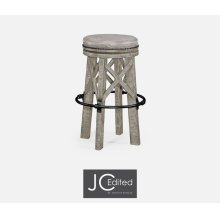 Country Style Rustic Grey & Iron Bar Stool with Antque Chestnut Leather