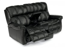 Challenger Leather Power Reclining Loveseat with Console