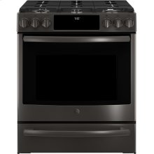 Slide-In Front Control Premium Black Stainless Steel Appearance, 5.6 cu. Ft. Self-Cleaning Convection Gas Range