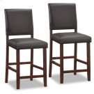 Wood Upholstered Back Counter Height Stool w/Ebony Faux Leather Seat #10086CP/EB - Set of 2 Product Image
