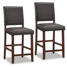 Wood Upholstered Back Counter Height Stool w/Ebony Faux Leather Seat #10086CP/EB - Set of 2