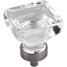 """1-3/8"""" Overall Length Glass Square Cabinet Knob."""