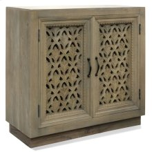 Grey Cabinet  36in W. X 16in D. X 35in Ht.  Ornate Carved Jali 2 Door Cabinet in Grey and Metal Ha