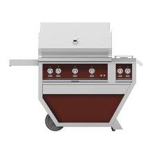 "36""grill,(3)trellis, ROTIS,DLX.CART W/dbl. Side Burner-lp-burg."