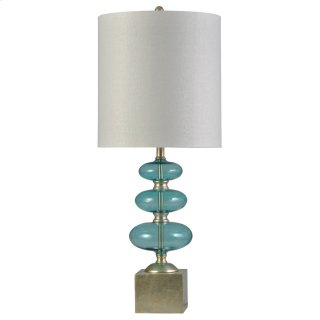 Lumina Blue  Transitional Glass and Steel Table Lamp  150W  3-Way  Hardback Shade