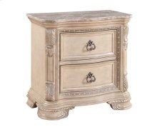 Riviera - Cream Two Drawer Nightstand W/marble Top