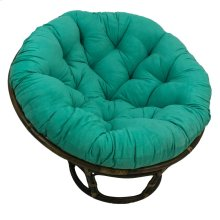 Bali 42-inch Rattan Papasan Chair with Microsuede Fabric Cushion - Walnut/Emerald
