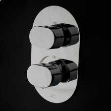 Built-in thermostatic valve with volume control valve and rounded rectangle backplate.