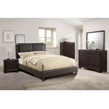 Espresso Queen Size Platform Bed Frame ( No Box Spring Required)