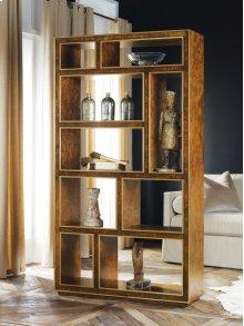 Abstract Vertical Bookcase - Burl, Walnut Burl Veneer. Gold Leaf Detailing.
