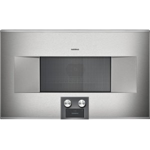 Gaggenau400 Series Speed Microwave Oven Stainless Steel-backed Full Glass Door Right-hinged Controls At the Bottom