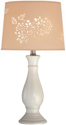 Table Lamp, Ivory Ceramic Body/laser Cut Shade, E27 Cfl 13w