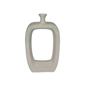 """Ceramic 18"""" Vase W/cutout,white / Green"""