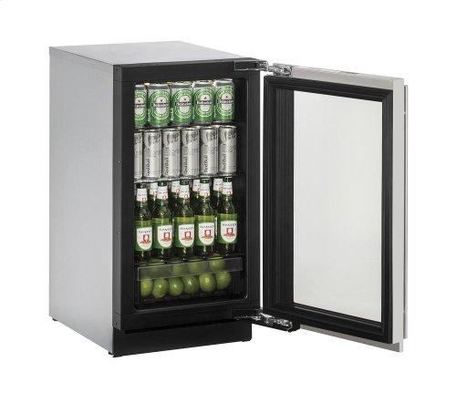 "18"" Glass Door Refrigerator Stainless Frame (Lock) Left-Hand Hinge"
