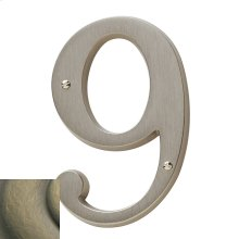 Satin Brass and Black House Number - 9