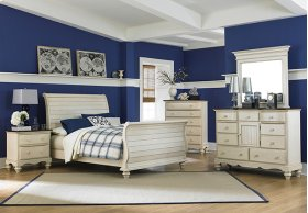Pine Island 5pc Queen Sleigh Bedroom - Old White