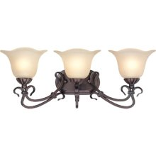 3 Lites Wall Lamp - Ant. Bronze/l. Amber Glass, Type A 60wx3