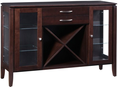 Sideboard W/2 Drawers, Wine Rack, Glass Sides & Doors