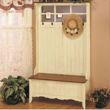 "French Country ""French Maple"" & ""Weathered Linen"" Hall Tree with Storage Bench"