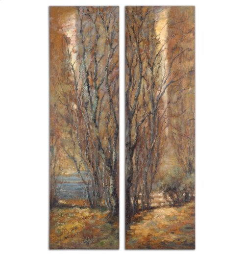 Tree Panels Hand Painted Canvases, S/2