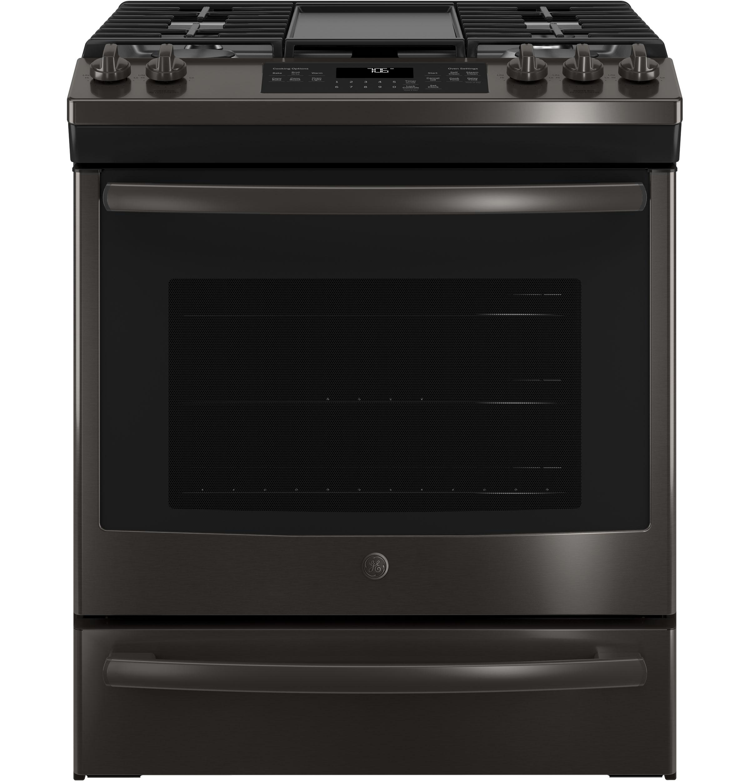 """GE(R) 30"""" Slide-In Front Control Convection Gas Range  BLACK STAINLESS"""