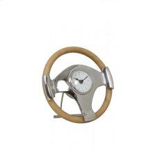 Clock 25x6,5 cm STEERING standing nickel-leather