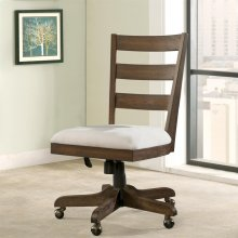 Perspectives - Wood Back Upholstered Desk Chair - Brushed Acacia Finish