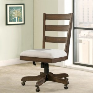 RiversidePerspectives - Wood Back Upholstered Desk Chair - Brushed Acacia Finish