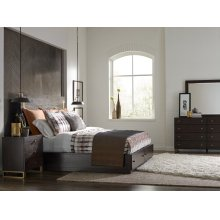 Panel Bed w/ Brass Finish Wood Accents & Storage Footboard