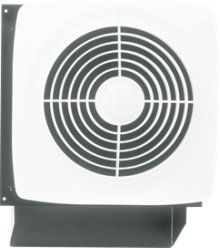 "8"" 180 CFM Through Wall Ventilation Fan, White Square Plastic Grille"