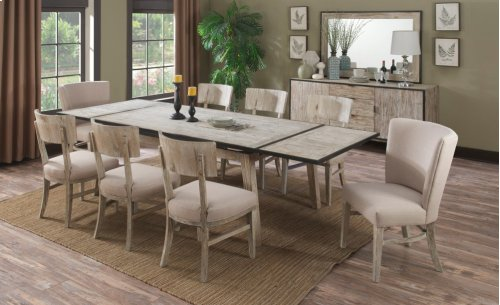 "Emerald Home Synchrony Extension Dining Table W/20"" Ext Each End Pearl D112-10"