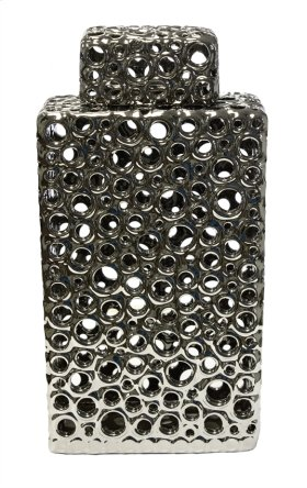 """Silver Pierced Ceramic Jar 11"""""""