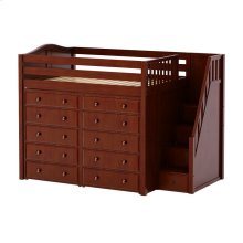 High Loft w/ Staircase & 2 x 5 Drawer Dressers : Full : Chestnut : Curved