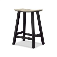"Black & Sand Contempo 24"" Saddle Bar Stool"