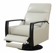 Recliner Swivel Leather Off White Black Base Kd