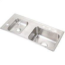 "Elkay Lustertone Classic Stainless Steel 37-1/4"" x 17"" x 5-1/2"", Double Bowl Drop-in Classroom ADA Sink"