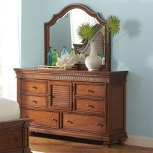 Windward Bay - Arch Landscape Mirror - Warm Rum Finish