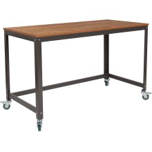 Livingston Collection Computer Table and Desk in Brown Oak Wood Grain Finish with Metal Wheels [NAN-JN-2522D-GG
