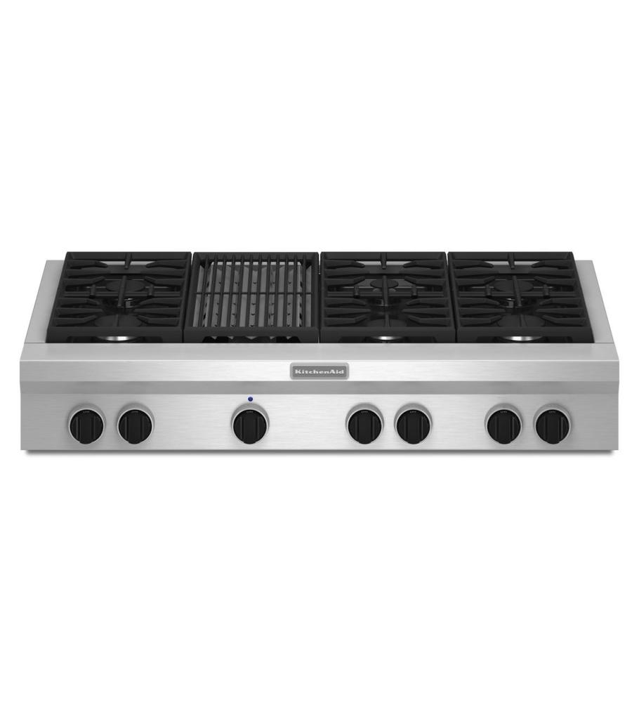 KitchenAid® 48-Inch 6-Burner with Grill, Gas Rangetop, Commercial-Style - Stainless Steel