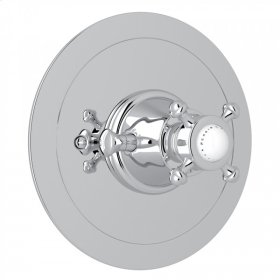 Polished Chrome Perrin & Rowe Georgian Era Round Thermostatic Trim Plate Without Volume Control with Georgian Era Cross Handle