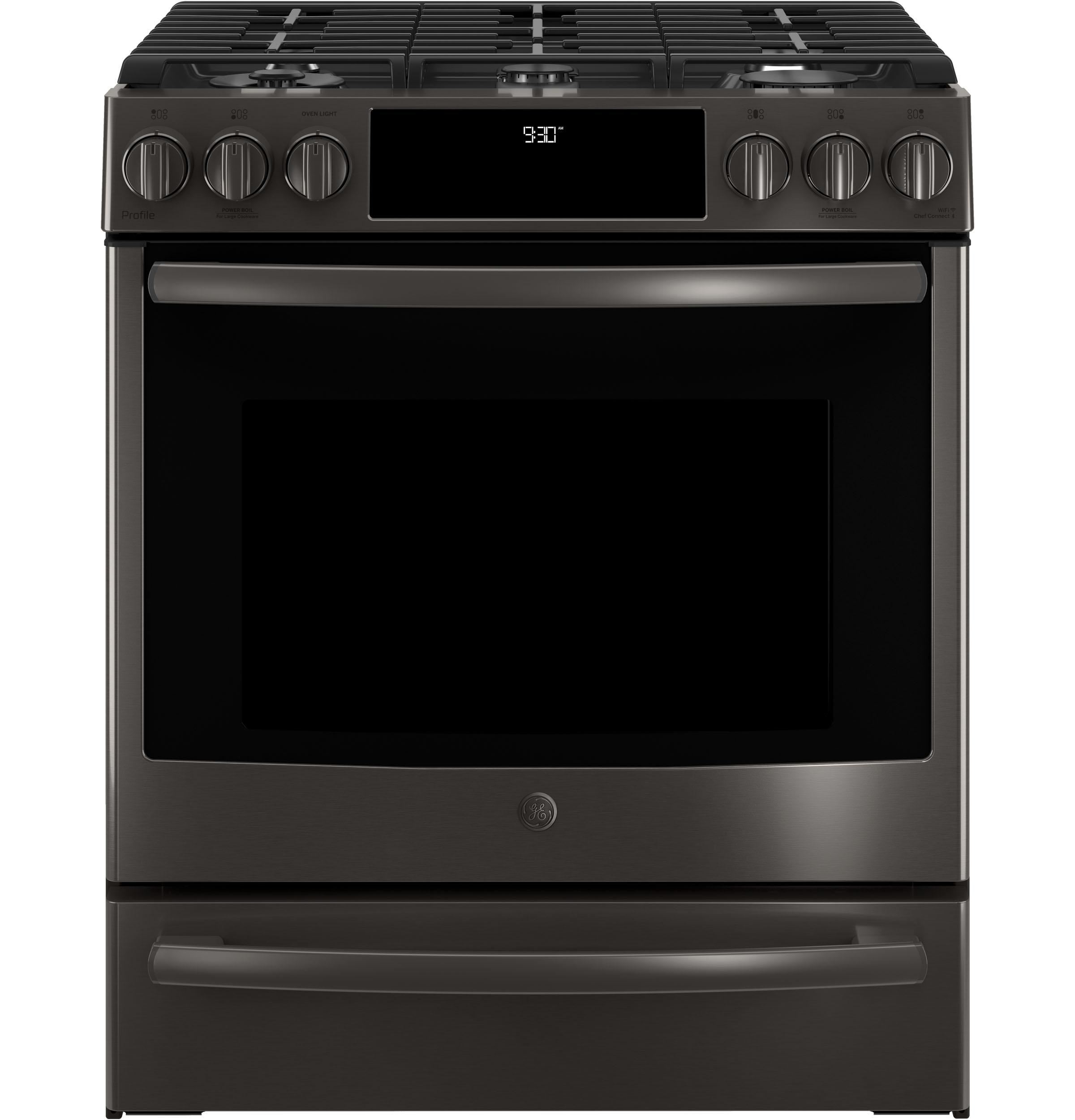 "GE Profile(TM) Series 30"" Slide-In Front Control Gas Range