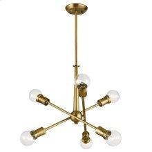 Armstrong 6 Light Chandelier Natural Brass