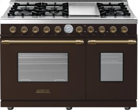 Range DECO 48'' Classic Brown matte, Bronze 6 gas, griddle and 2 gas ovens